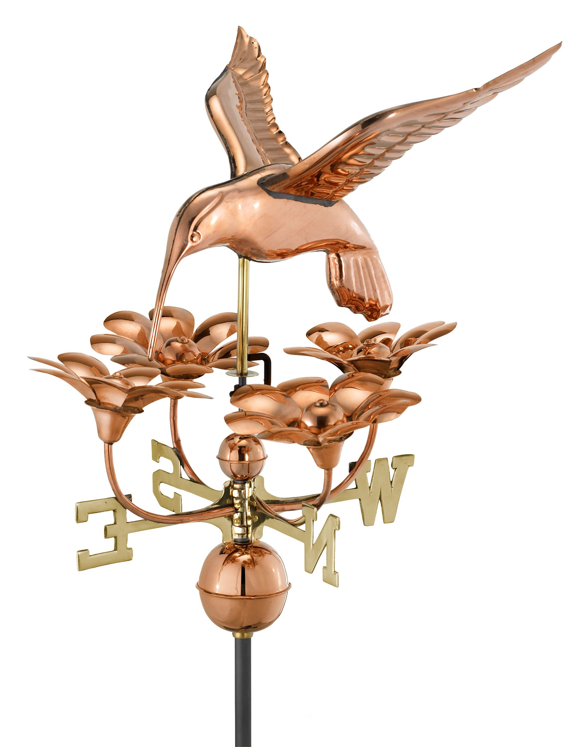 Hummingbird With Flowers Weather Vane Good Directions Copper Roof Weathervanes