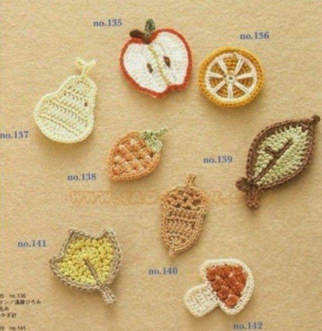 8 patrones de apliques frutales tejidos con ganchillo   CROCHET ...