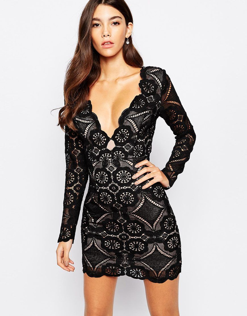 93ec3beafb Shop Love Triangle V Neck Mini Dress In All Over Lace at ASOS.