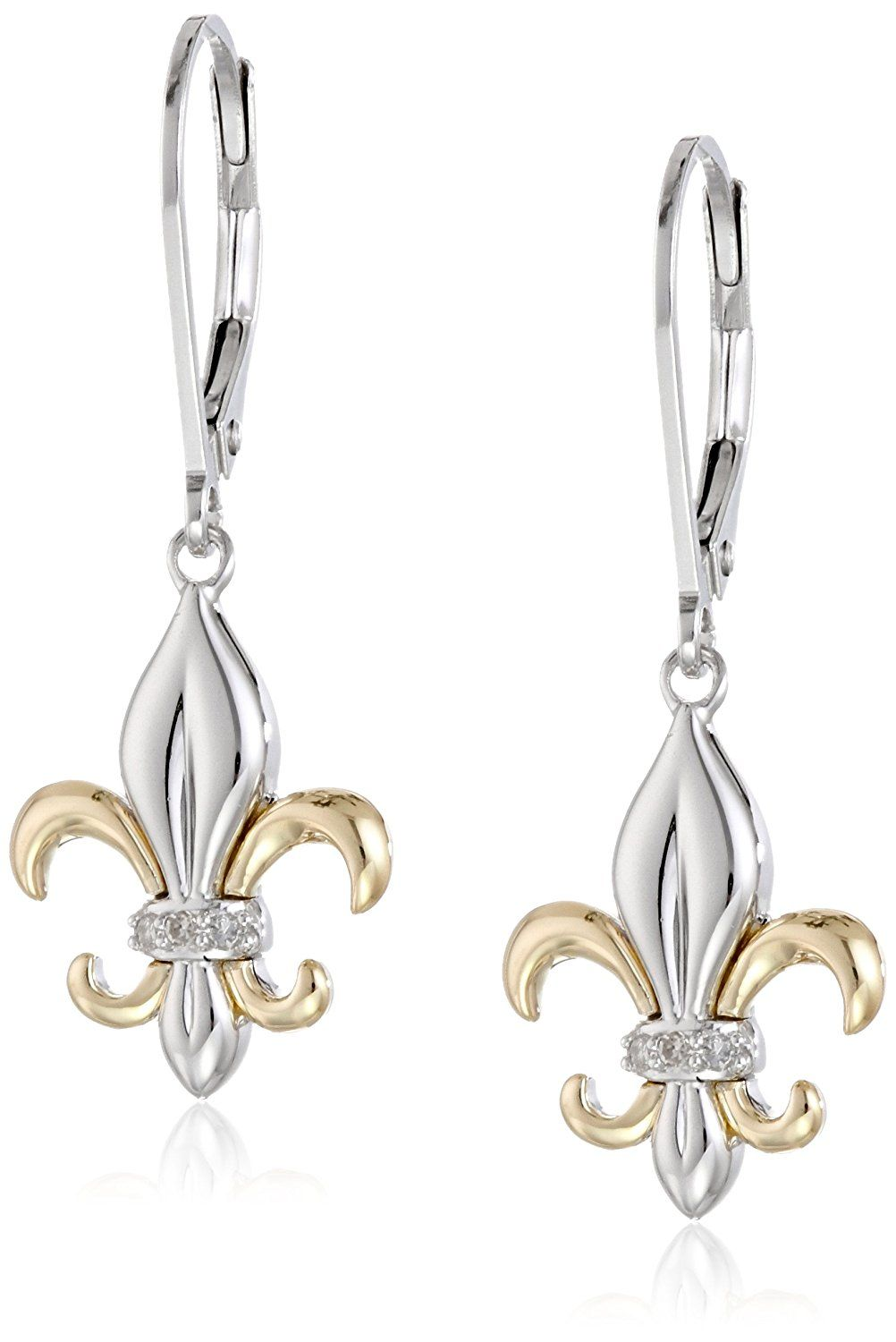 e3c19139b Sterling Silver and 14k Yellow Gold Fleur-de-Lis Diamond Accent Drop  Earrings *** Be sure to check out this awesome product. (This is an  affiliate link and ...