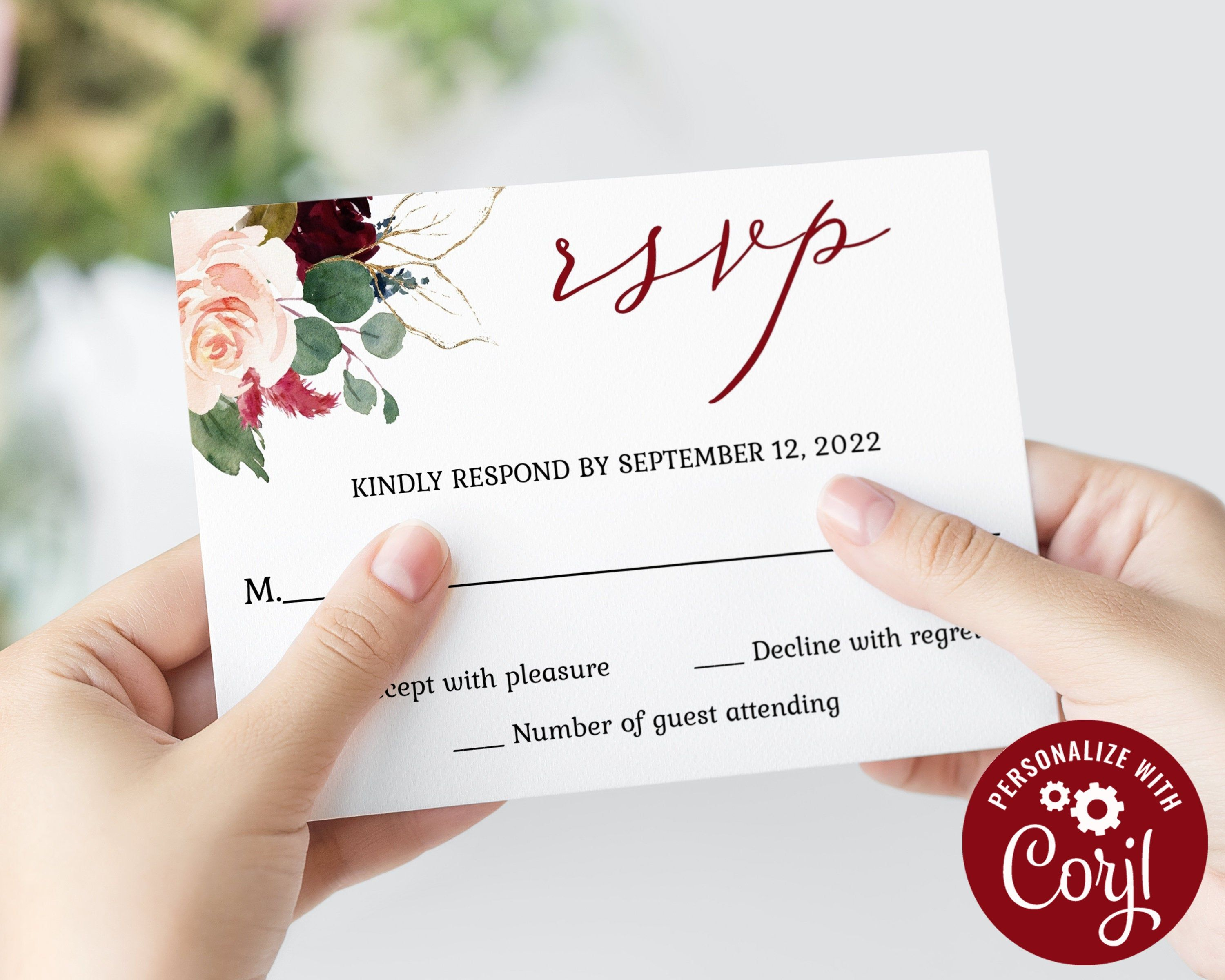 Rsvp card editable template burgundy floral kindly reply