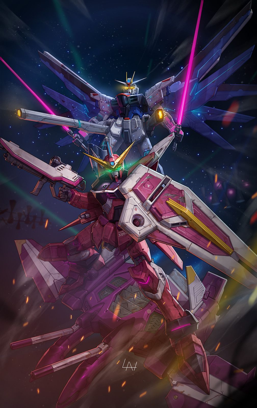Freedom X Justice Gundam Fans Art Lan On Artstation At Https Www Artstation Com Artwork 1r4bo With Images Gundam Wallpapers Gundam Gundam Art