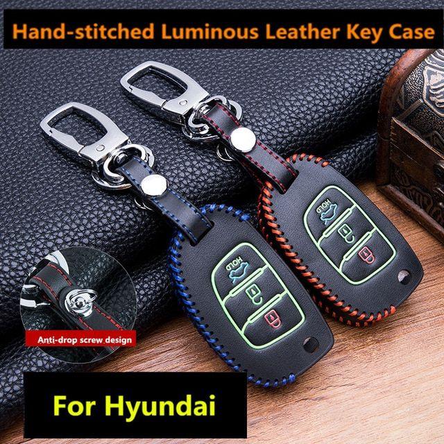 Universe Of Goods Buy Luminous Leather Car Key Fob Cover Case Set Keychain For Hyundai Tucson Creta Ix25 I10 I20 I30 Verna Leather Key Case Key Case Leather