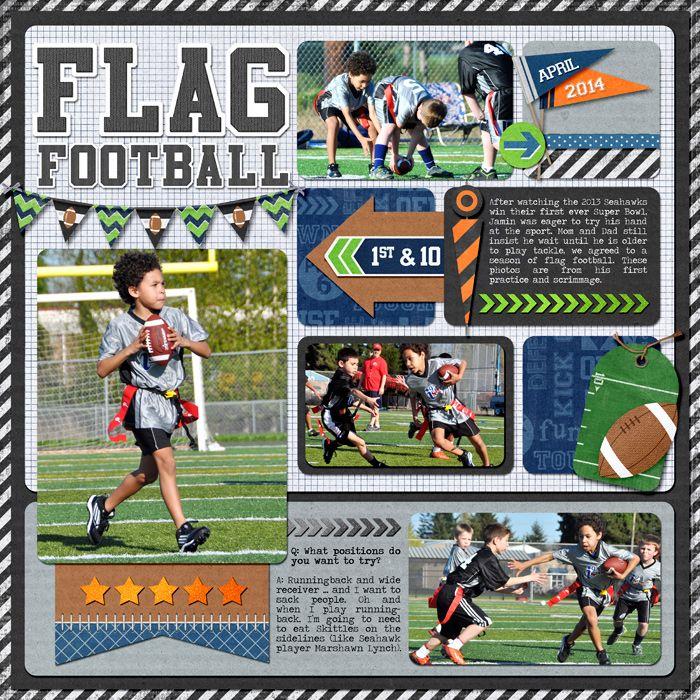 Digital Flag Football Flag Football Scrapbooking Sports School Scrapbook