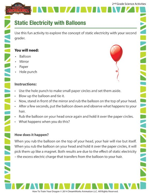 Static Electricity With Balloons Printable Science