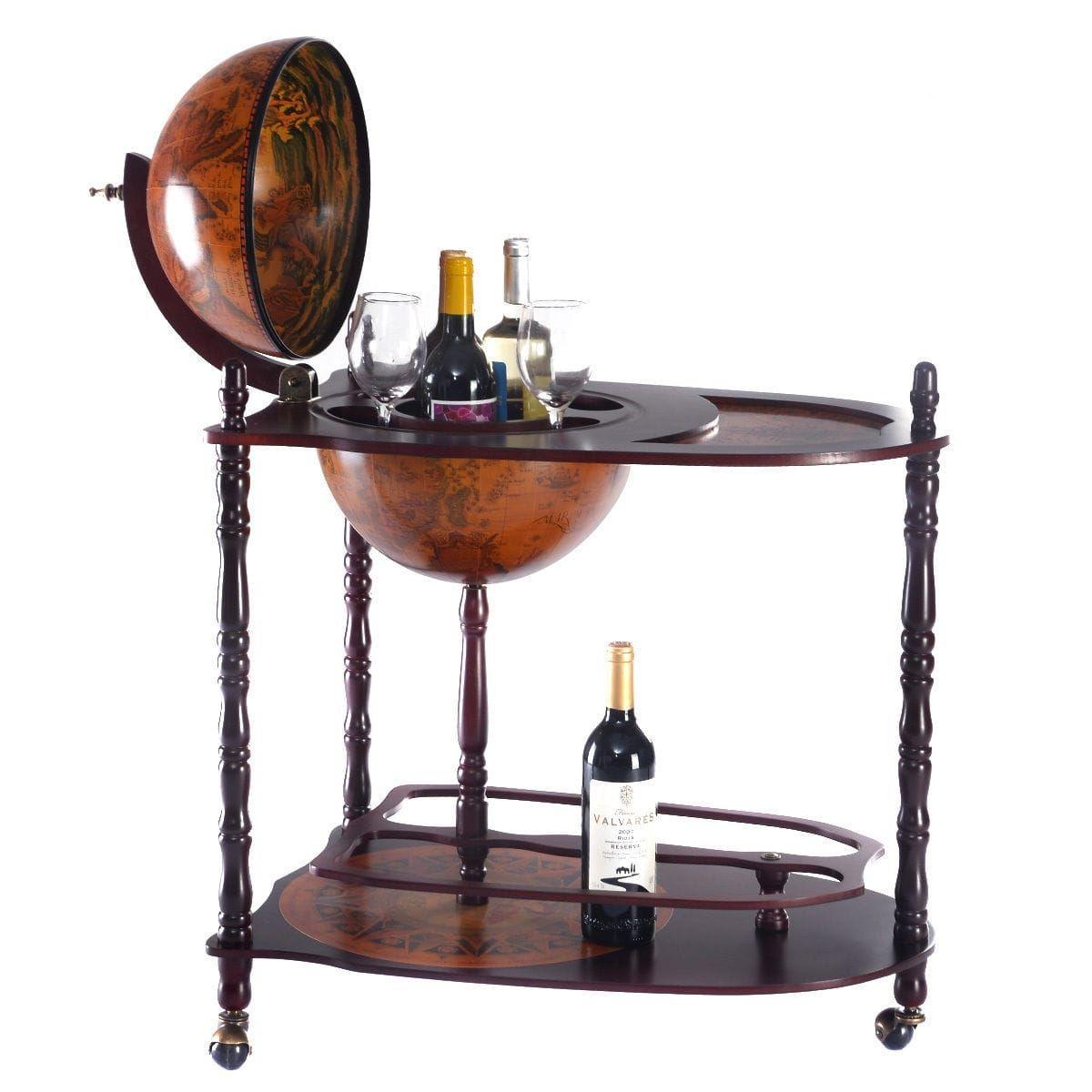 Costway Wood Globe Wine (Red) Bar Stand 34\'\' H 16th Century Italian ...