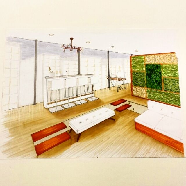 Two point perspective open concept sunken living room bar for Living room 2 point perspective