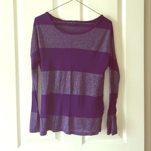 SALE Purple Sparkle Stripe Top Soft cute tee | No trades, no PayPal, no holds & all negotiations through the offer button, please ❤️ Old Navy Tops Tees - Long Sleeve