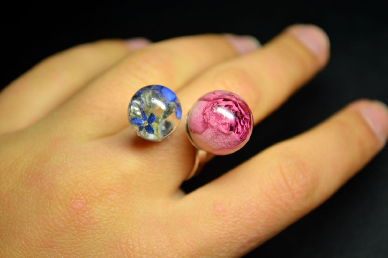 Double Ring with real flowers Crystal Resin Dried flowers Dried Roses Forget me not flowers Eco Jewelry Floral Ring Natural Ring Elegant by VITALIAart on Etsy