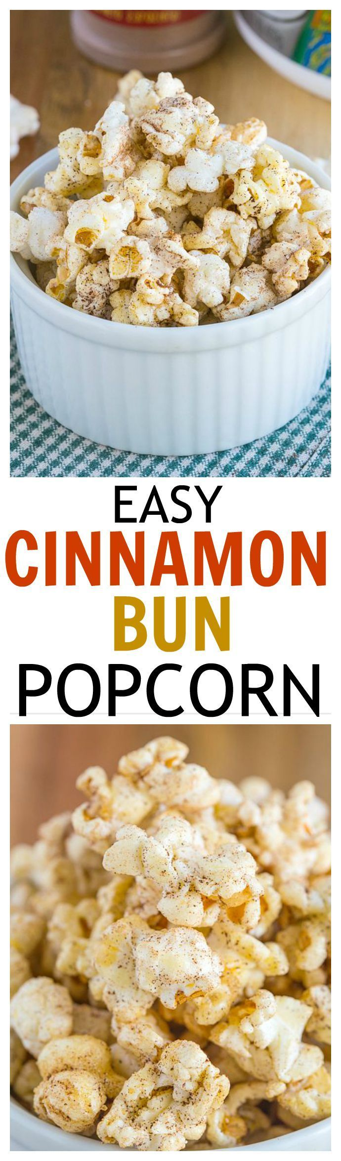 Easy Cinnamon Bun Popcorn - Just three minutes to crispy, sweet and salty popcorn which tastes and smells like fresh cinnamon buns, but with a healthy twist!