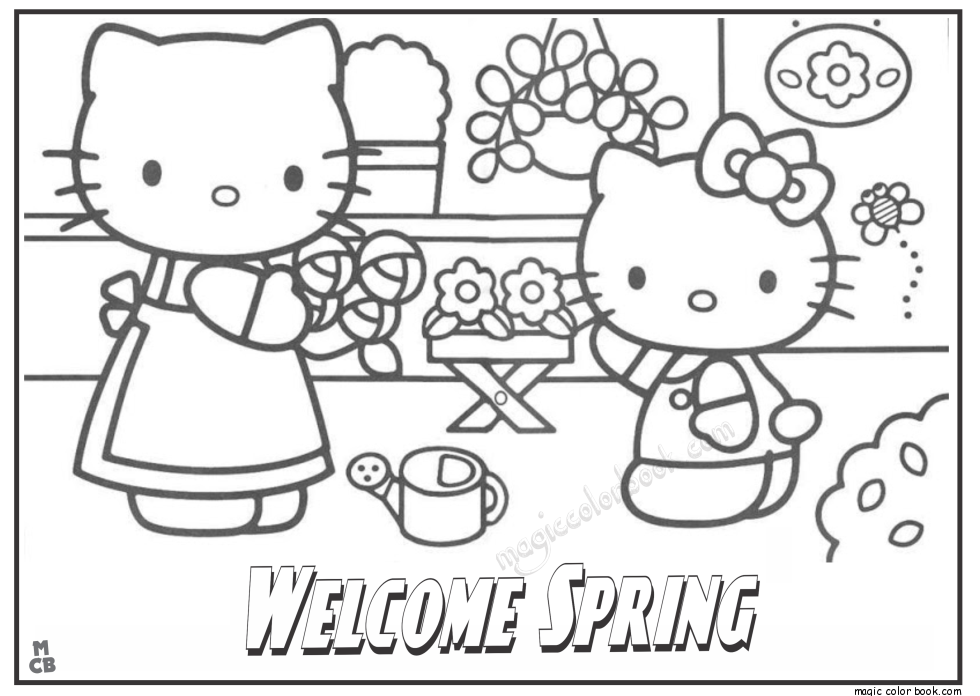 Wele Spring Kitty Coloring Pages Hello Rhpinterest: Hello Kitty Coloring Pages Spring At Baymontmadison.com
