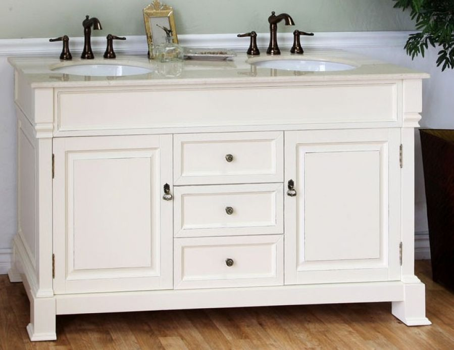 60 Inch Double Sink Bathroom Vanity In Cream White With Images