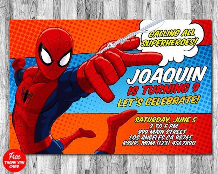 Spiderman Birthday Invitations Free Party Invitation Card