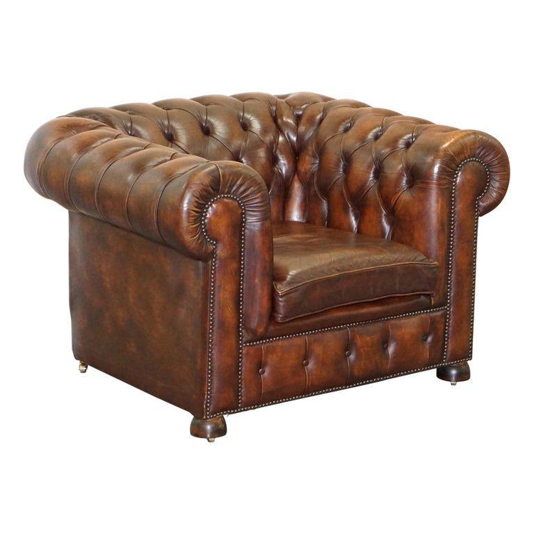 Vintage Art Deco 1920 Brown Leather Hand Dyed Coil Sprung Chesterfield Armchair Chesterfield Sessel Sessel Gunstig Ledersessel