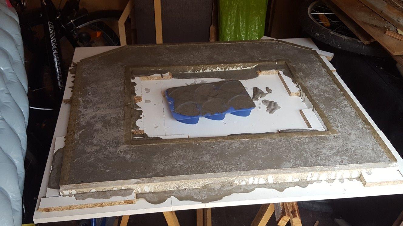 Arbeitsplatte Bzw Sichtzwischenplatte Ist Gegossen Grillkamin Grillen Selber Bauen
