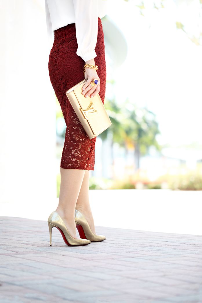 0af0b2dd58b Blame it on Mei Miami Fashion Blogger 2016 Lace Burgundy Pencil Skirt  Wedding Guest Look Special Occasion Outfit Gold Louboutin Heels Louis  Vuitton LV Gold ...
