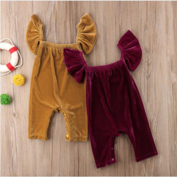 Newborn Baby Girls Velvet Lace Romper Bodysuit Jumpsuit Playsuit Winter Clothes