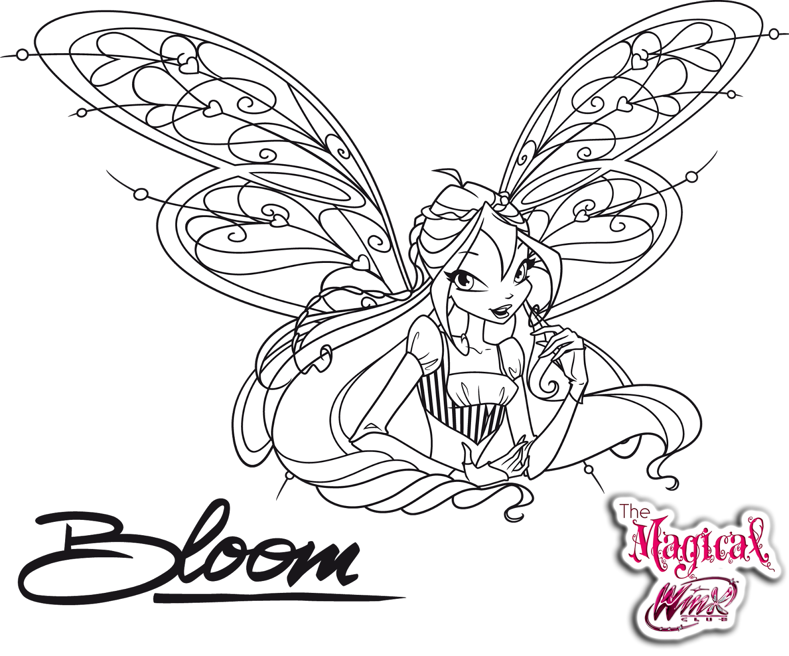 Image Result For Winx Club Bloom Harmonix Coloring Pages Coloring Pages Winx Club Line Art