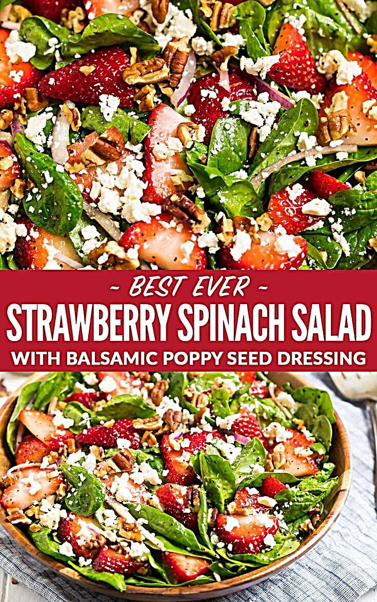 - The best ever Spinach Strawberry Salad with Balsamic Poppyseed Dressing, pecans, and feta or goat...