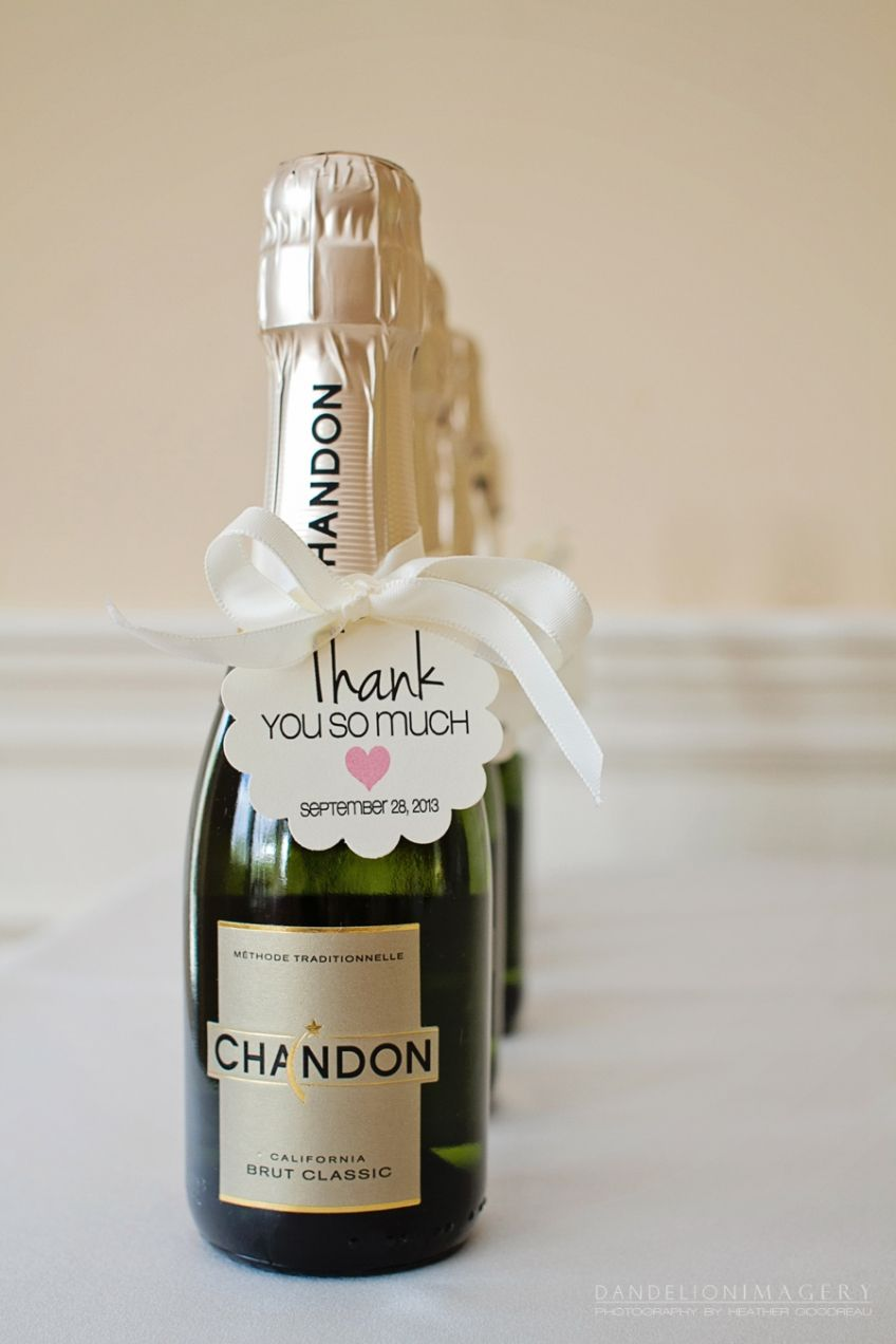 Mini Champagne Bottles As Favors { Decorated With Burlap Ribbon ...