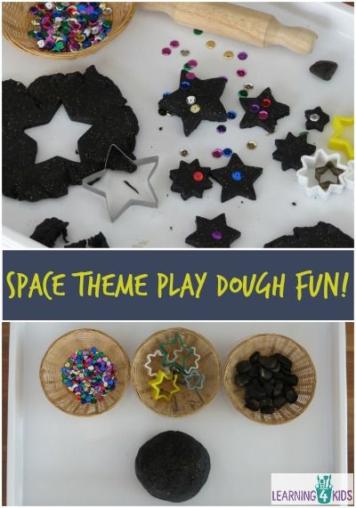 Space Theme Play Dough Activities Create a star stack, math ideas, colour sorting and so much more! FUN!