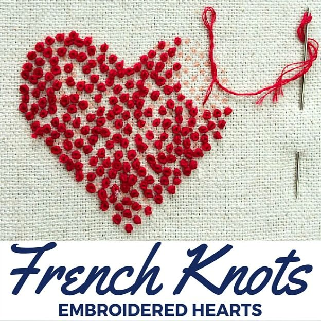 French knot embroidered hearts hand embroidery stitches