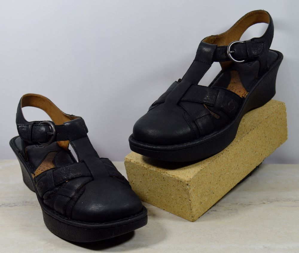 99bc270944a4 Born Black Leather Closed Toe Slingback Wedge Sandals Women s Size 9 M  Brn   Slingbacks  Casual