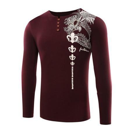 Rhinestone Embellished Buttoned Printed T-Shirt