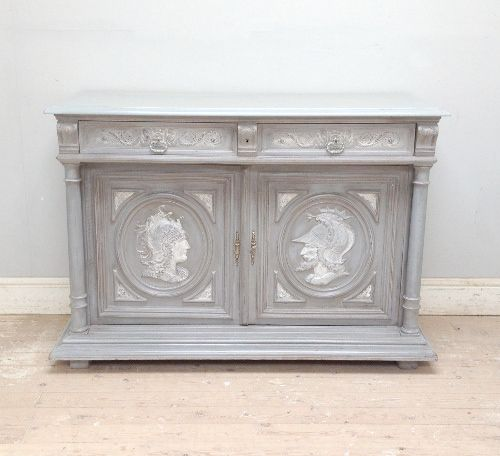 french antique dresser base c1880. highlights with ancient figures