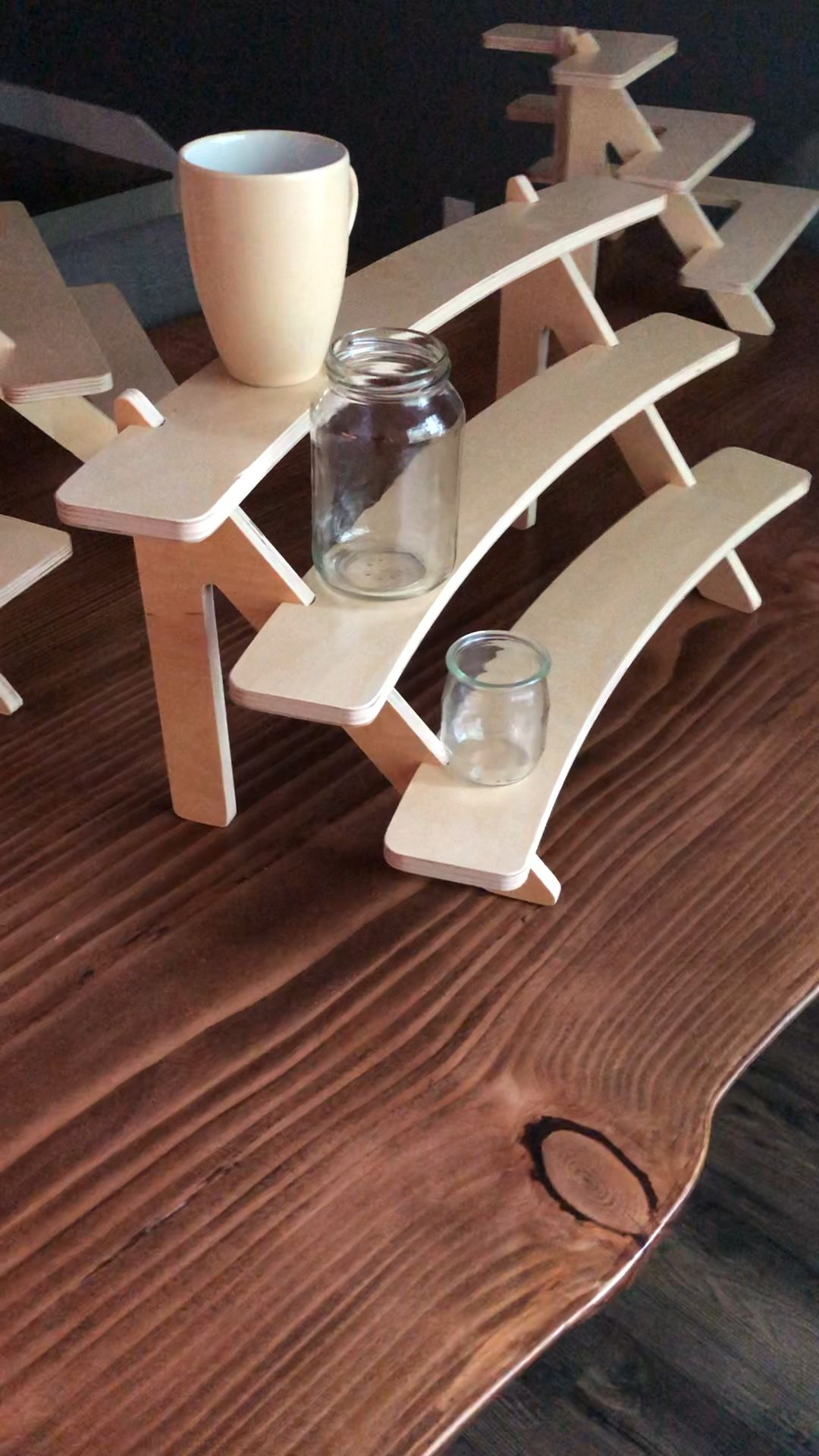 Photo of Curved Tiered Wood Shelf Stand for Table Display   Etsy