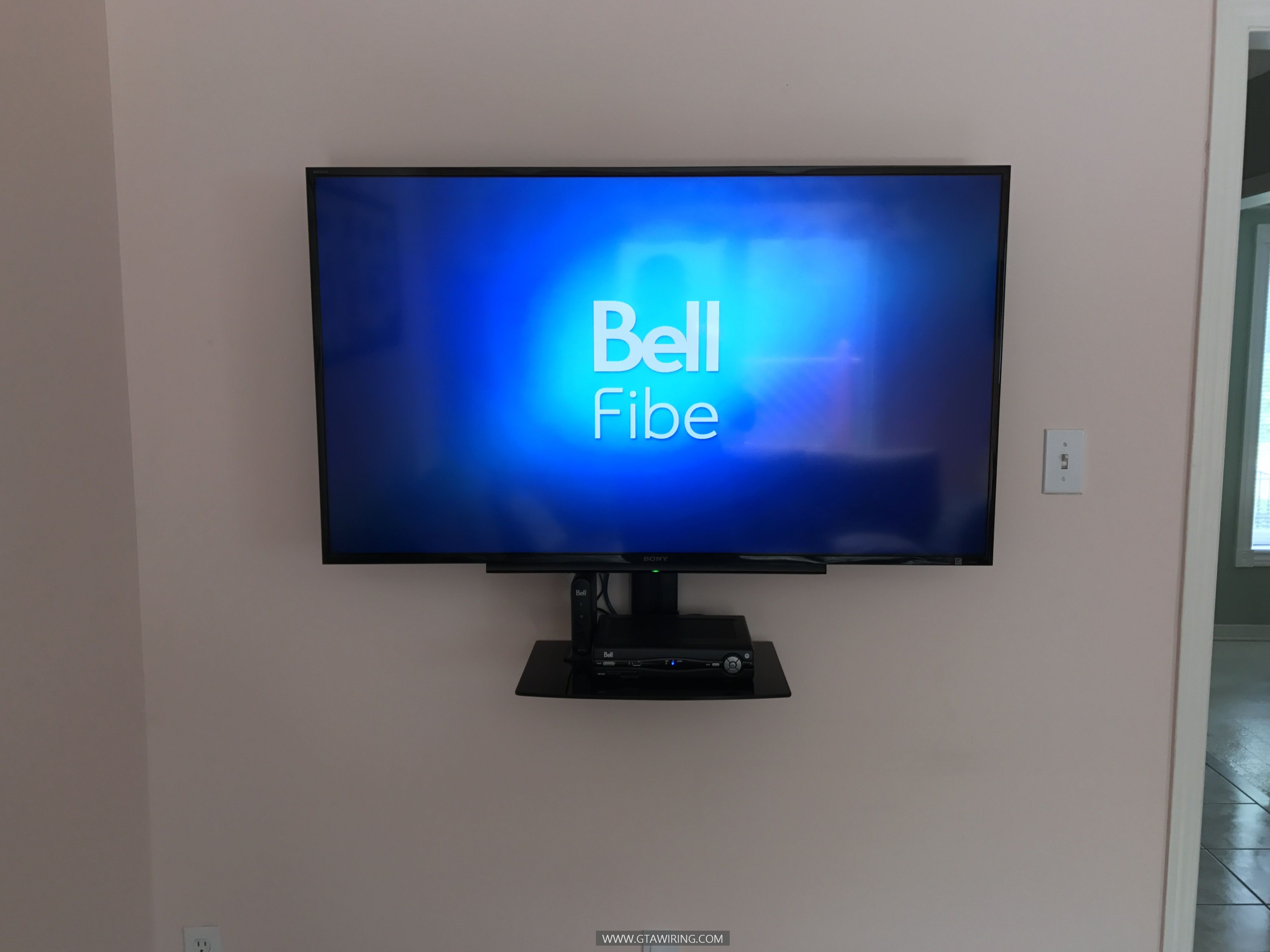 Tv Wall Mounting Single Media Shelf Installation Wires Concealment Newmarket Ontario More Info Www Gtawiring Com Tv Wall Wall Mounted Tv Tv Wall Mounts
