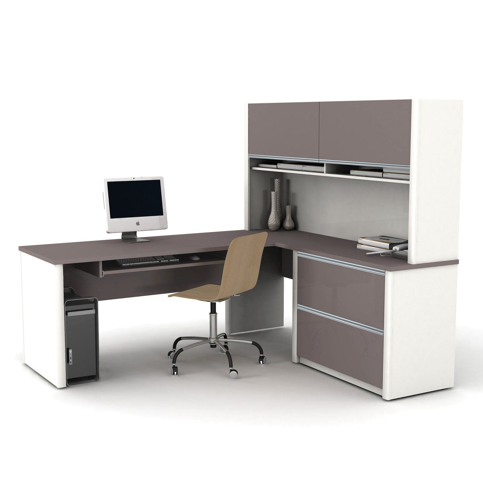 Bestar Connexion L Shaped Desk With Hutch Sandstone Slate In