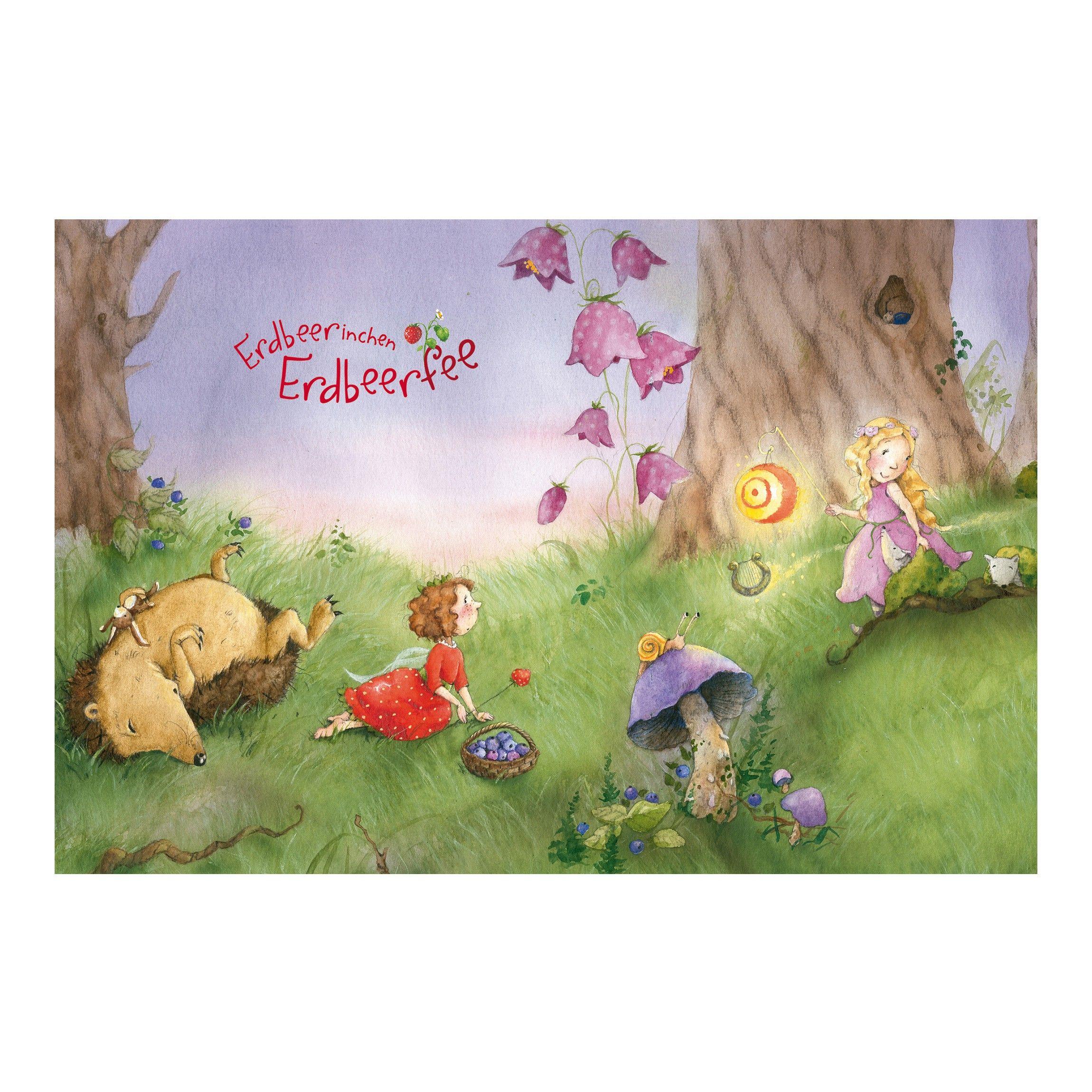 kindertapete erdbeerinchen erdbeerfee im wald vlies fototapete premium breit. Black Bedroom Furniture Sets. Home Design Ideas