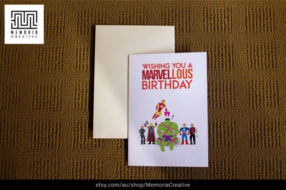Download Printable Card Birthday Card Avengers Card Etsy Birthday Card Printable Marvel Cards Birthday Cards