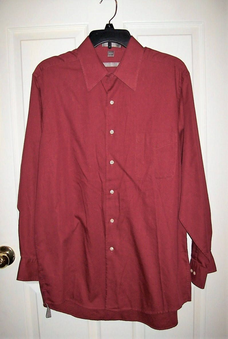 Vintage mens brick red long sleeve dress shirt by geoffrey beene