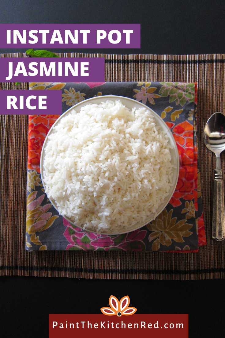 This is the best recipe for Instant Pot Jasmine Rice and is the perfect complement to Thai curries.  This recipe tells you how to cook perfect Jasmine rice every time, quick and easy.  You'll never go back to long grain rice with Thai food!  For smaller quantities like 1 cup, this recipe can also be cooked using the Pot in Pot method. #instantpot #rice #jasminerice #thai