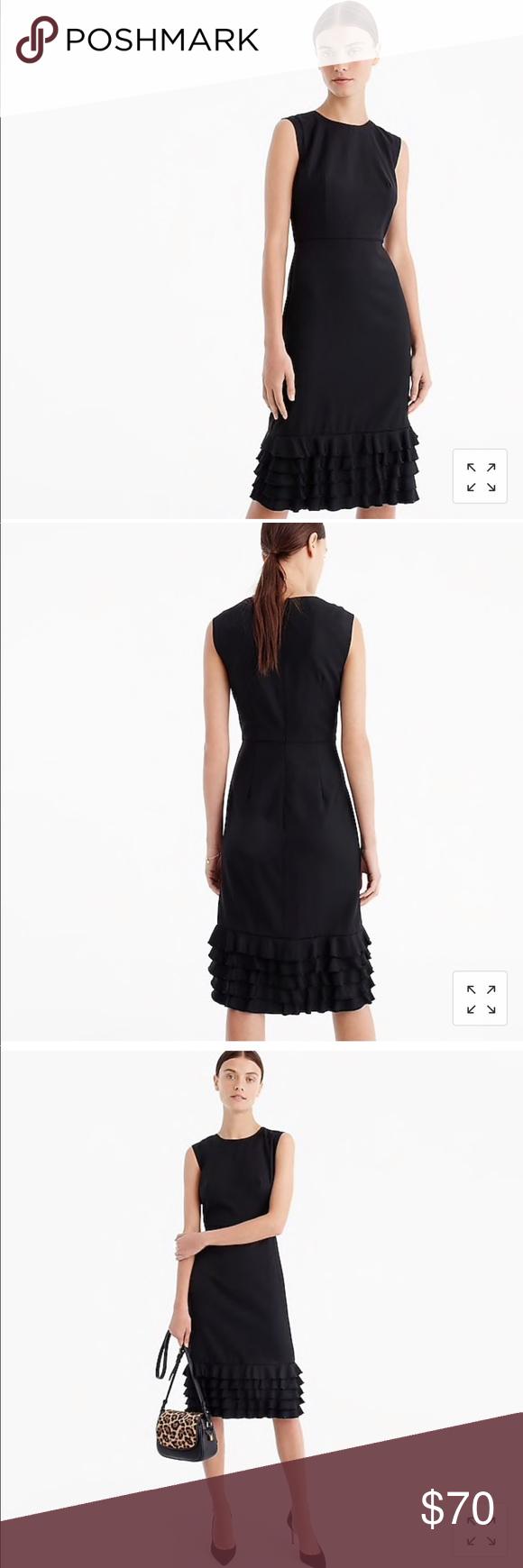 Nwot J Crew Suiting Wool Ruffle Hem Sheath Dress Suiting Dresses Sheath Dress [ 1740 x 580 Pixel ]