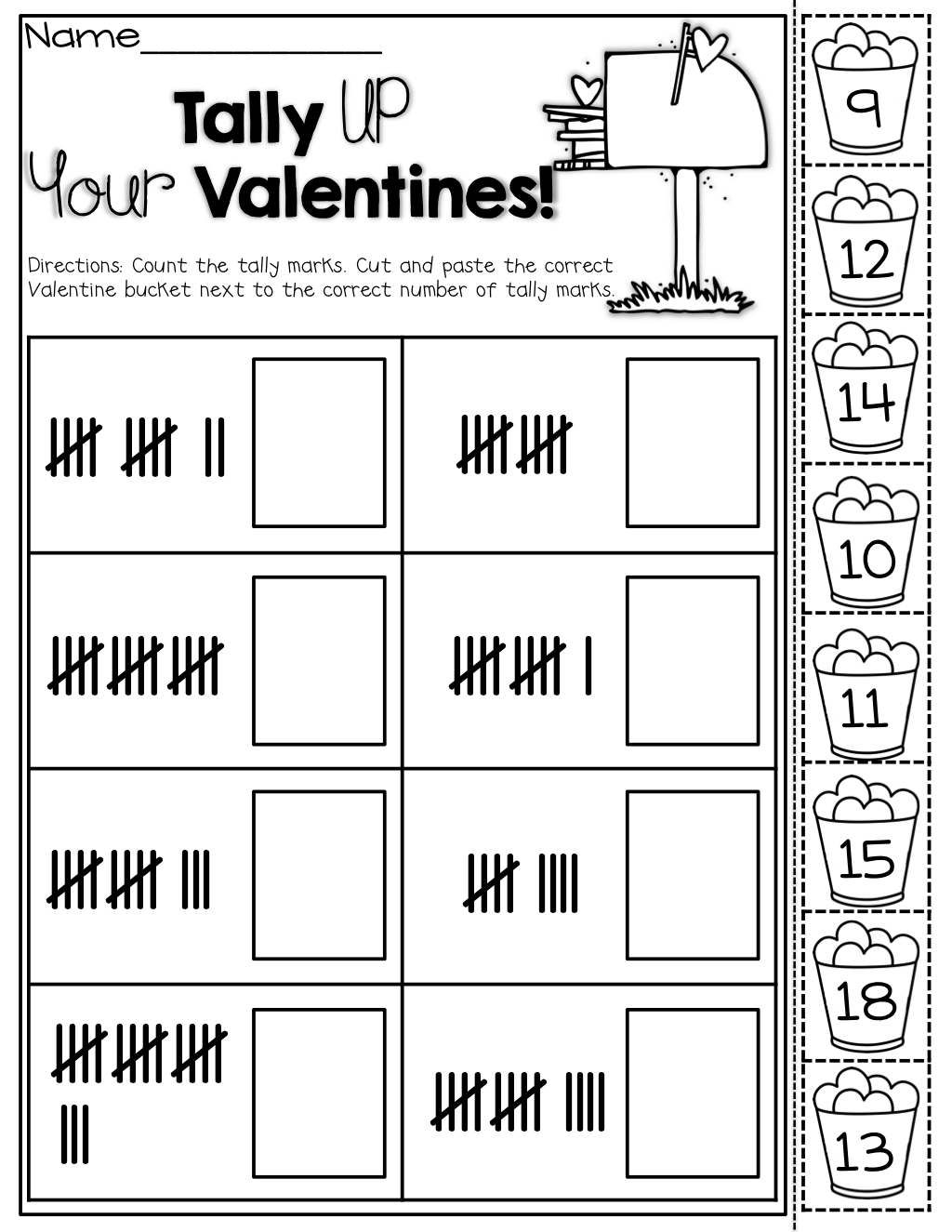 Tally Marks (cut and paste) for Valentines! | Teaching | Pinterest ...