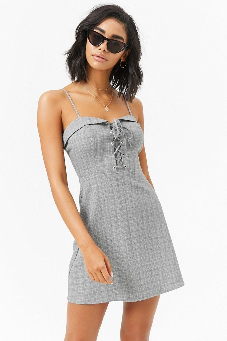 8345ba2ca6d Lace-Up Glen Plaid Mini Dress    22.90 USD    Forever 21