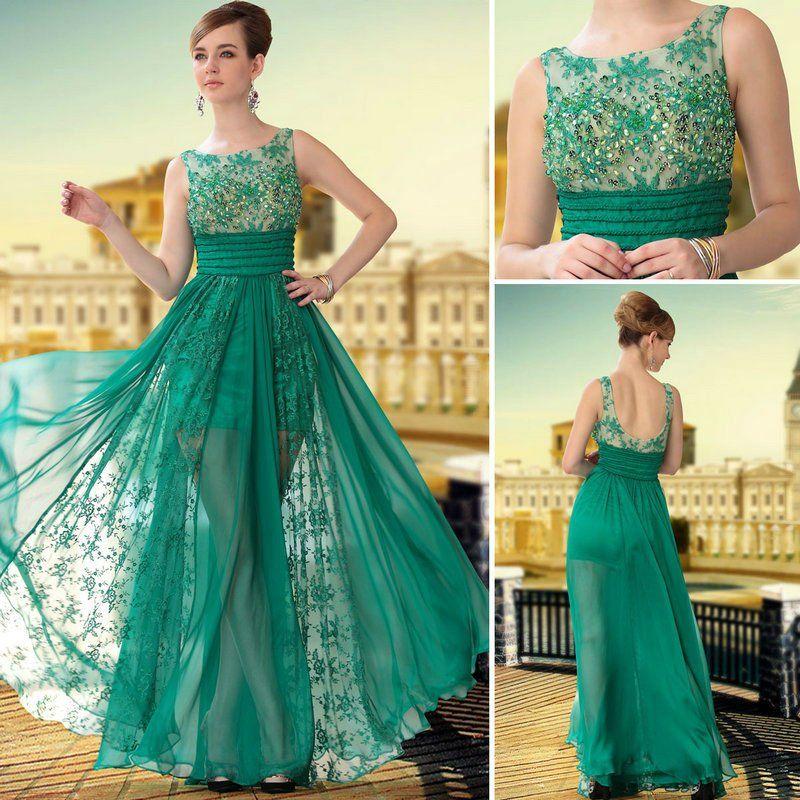 Vestido longo de renda verde claro