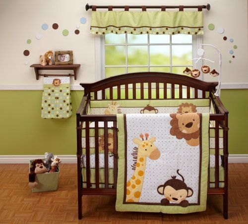 NoJo Little Bedding  Jungle Pals 4 Piece Crib Set by Crown Crafts, http://www.amazon.com/dp/B004I1KWFA/ref=cm_sw_r_pi_dp_8jNTqb11AX3TQ
