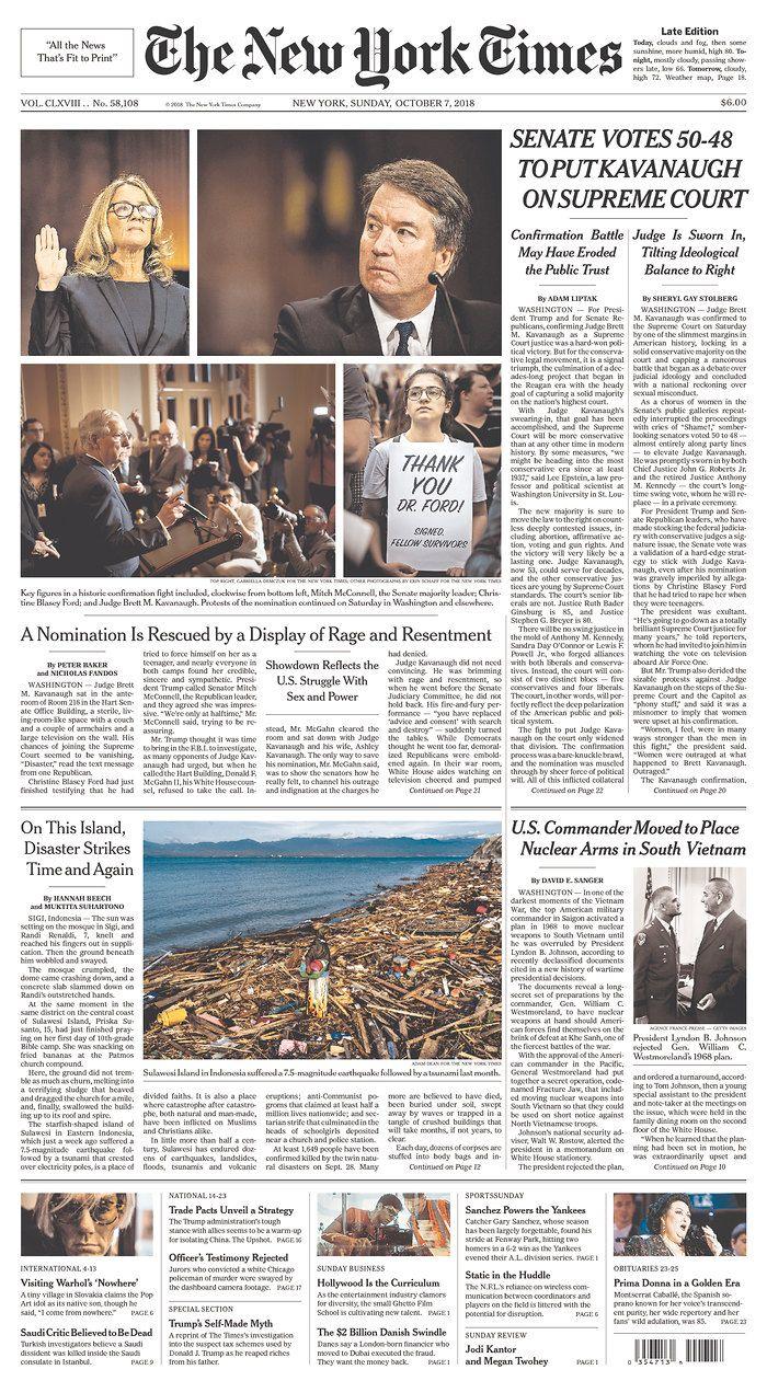 New York Times Kavanaugh Confirmed Newspaper Design Layout Newspaper Design Newspaper Background