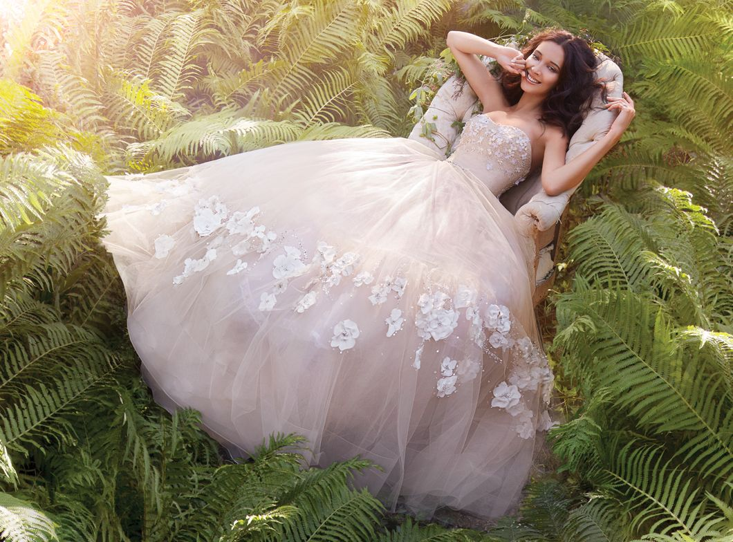 Nude Tulle floral embroidered bridal ball gown, strapless sweetheart ...