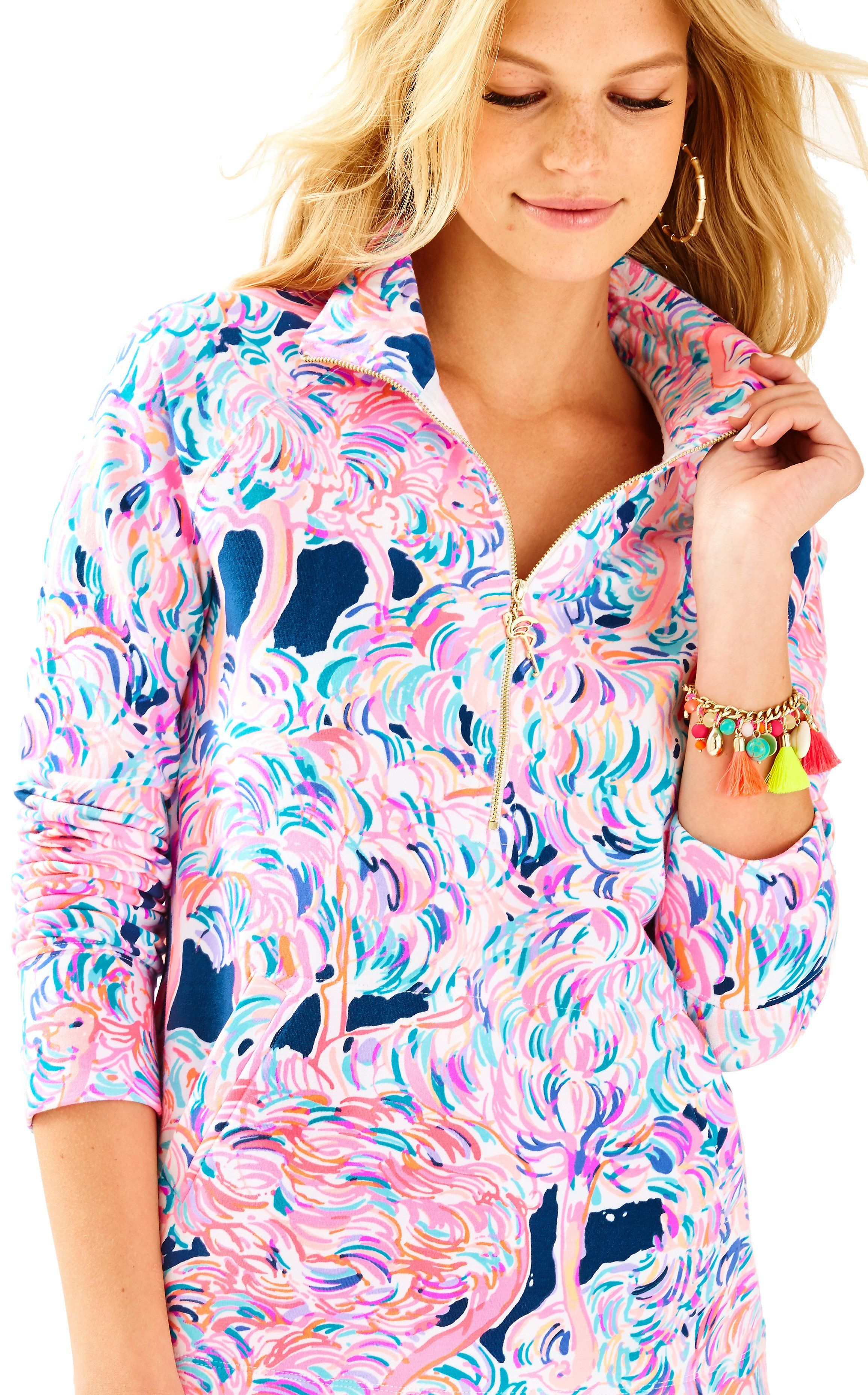 202a671b7184c0 Lilly Pulitzer UPF 50+ Skipper Popover in Pelican Pink Head In The Sand