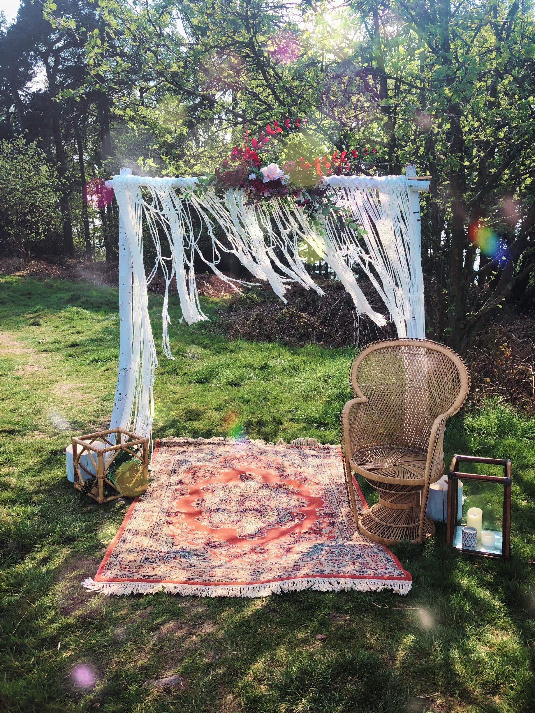 Our woodland arch is a simple structure or three white