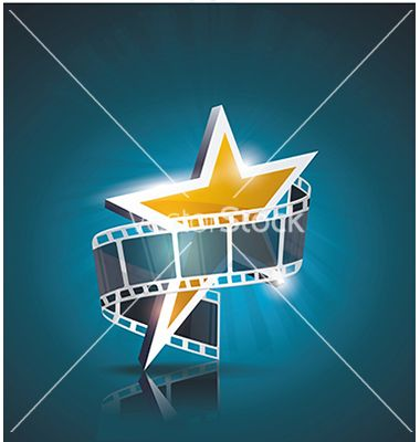 Film Strip Roll With Gold Star Cinema Background Vector Image On Vectorstock Film Strip Cinema Gold Stars