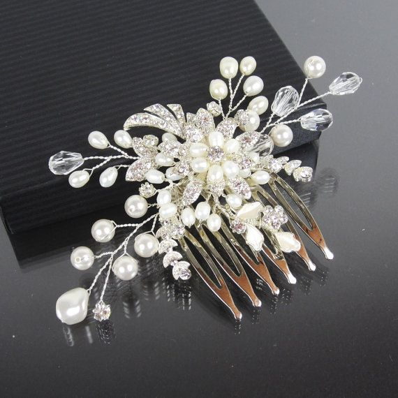 Wedding Hairstyle With Jasmine Flower: Pearl Flower Bridal Comb JASMINE Hair Comb By