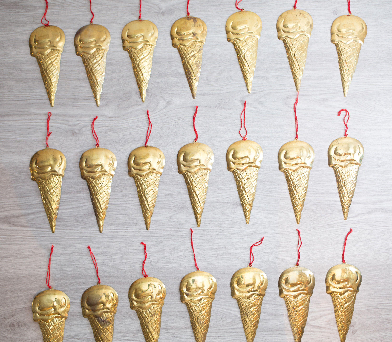 Brass Ice Cream Cones / Set of 21 Decorative Hanging Christmas Tree ...