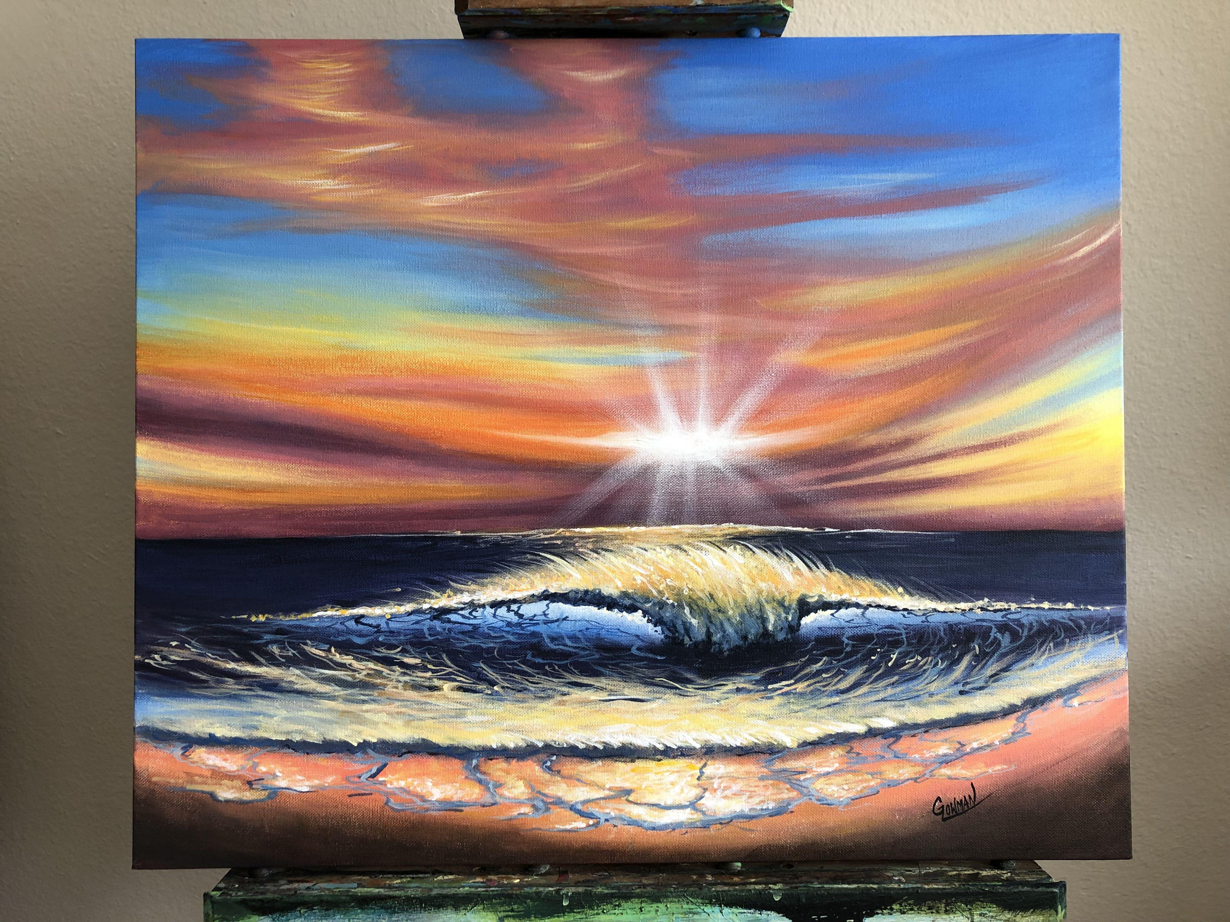 Simple Landscape Paintings Sunset Beach Sunset Landscape With