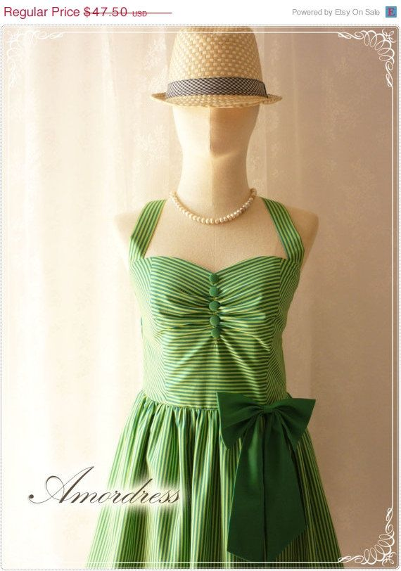 SALE Green stripe Party Dress ..SIZE S..Jade Green and Light Green Stripe Timeless All Season Every Day or Party Dress...Once Upon A Time. $44.50, via Etsy.